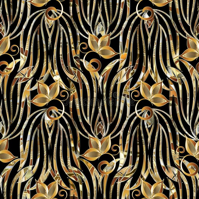 Floral vintage seamless pattern. Vector background with gold han royalty free illustration