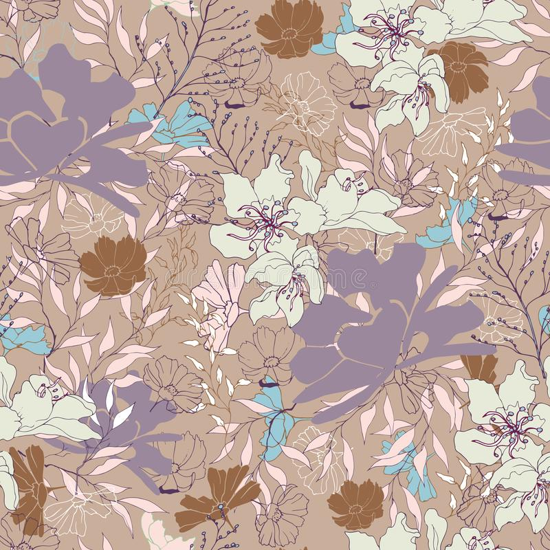 Floral vintage texture for fabric. Ornament of flowers and leaves on a brown background. Elegant natural ornament. Vintage texture vector illustration