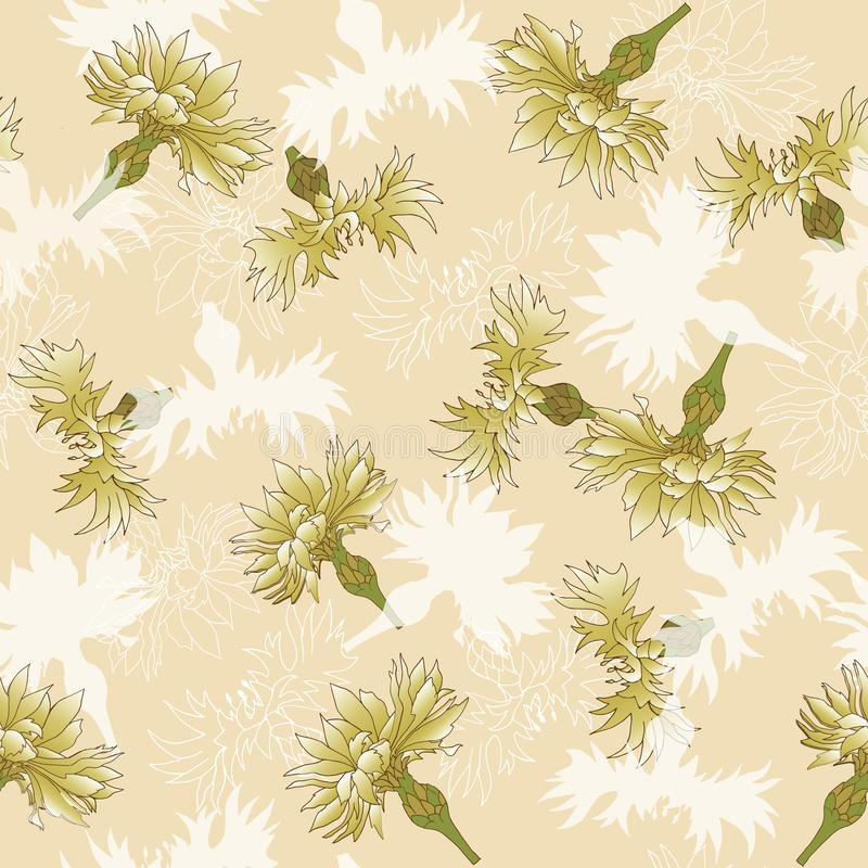 Floral vintage texture for fabric. Seamless ornament of flowers on a beige background royalty free illustration