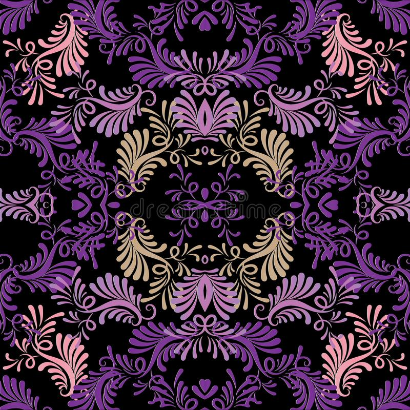 Floral vintage vector seamless pattern. Beautiful black background with violet purple pink hand drawn abstract vector illustration