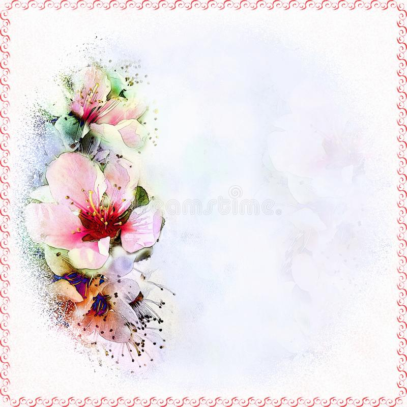 Floral vivid greeting card with abstract peach flowers on grunge stained hazy background in pastel colors. With copy space and decorative frame stock illustration