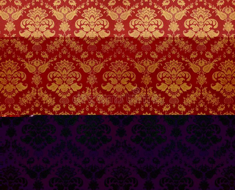 Floral wallpaper. Luxury golden crumpled floral wallpaper royalty free stock images