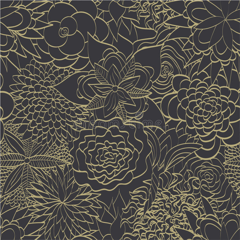 Floral wallpaper. Abstract seamless pattern. Hand drawn royalty free illustration