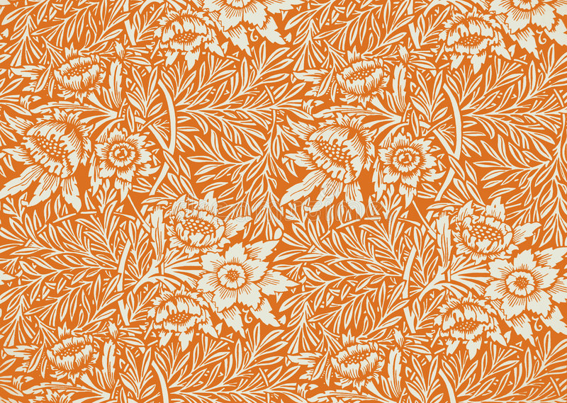 Floral wallpaper. Picture of wallpaper from the 1960 royalty free stock image