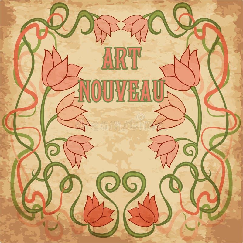 Floral Wallpaper In Art Nouveau Style, Vector Stock Vector ...