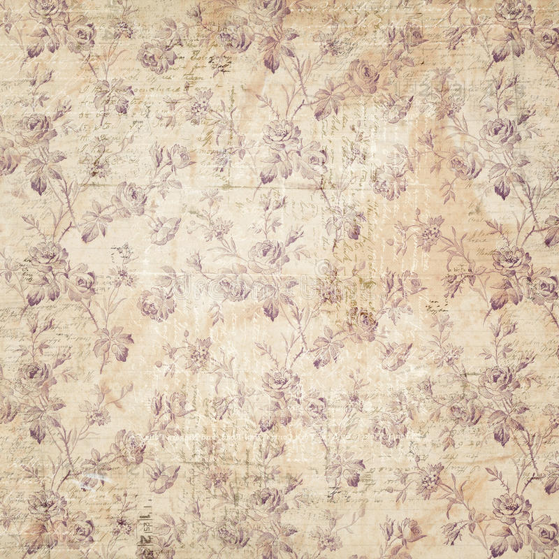 Floral wallpaper background. A grungy distressed purple and beige floral wallpaper background with text stock photo