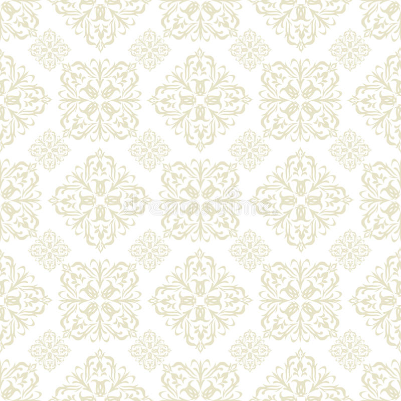 Floral Wallpaper Beige Tile Royalty Free Stock Image