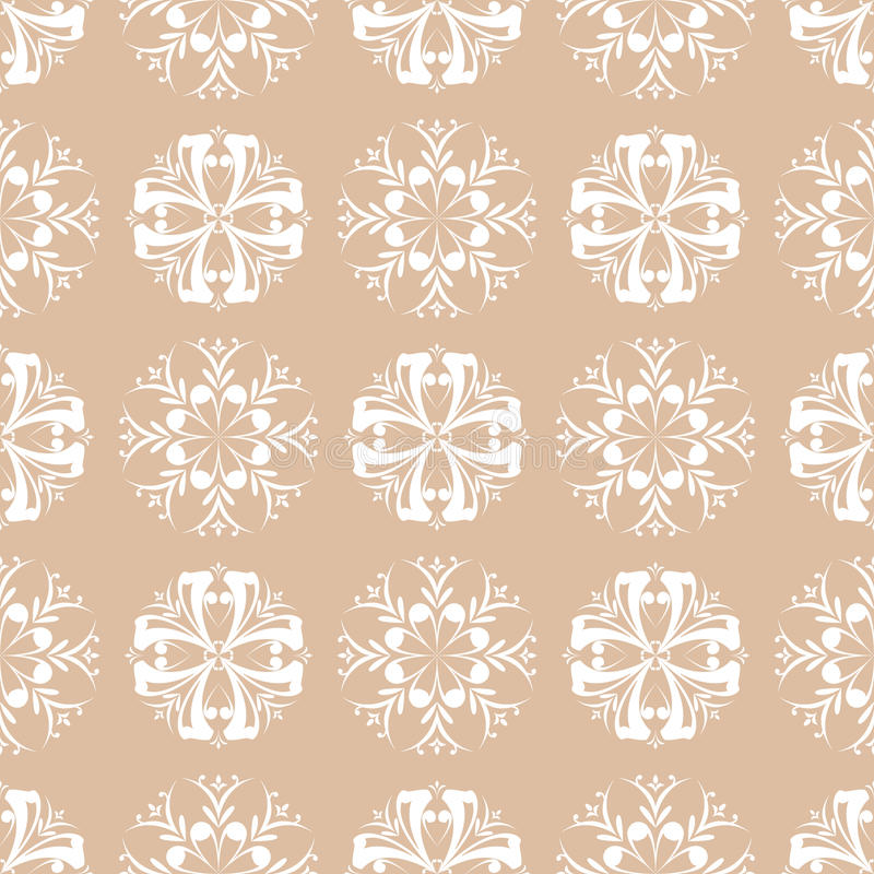 Floral wallpaper. Brown seamless pattern as textile background vector illustration