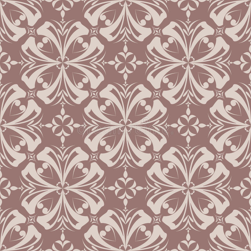 Floral wallpaper. Brown seamless pattern as textile background royalty free illustration