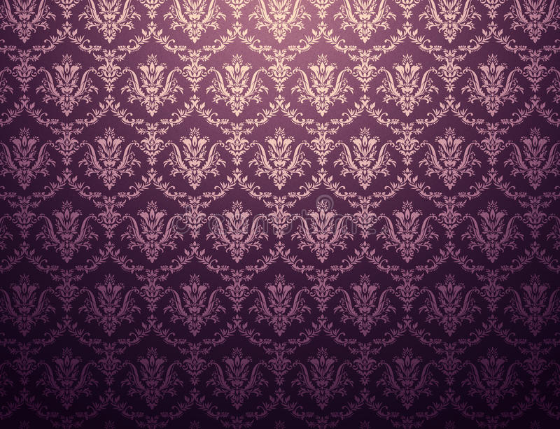 Floral wallpaper. Dark purple wallpaper with floral pattern royalty free stock images