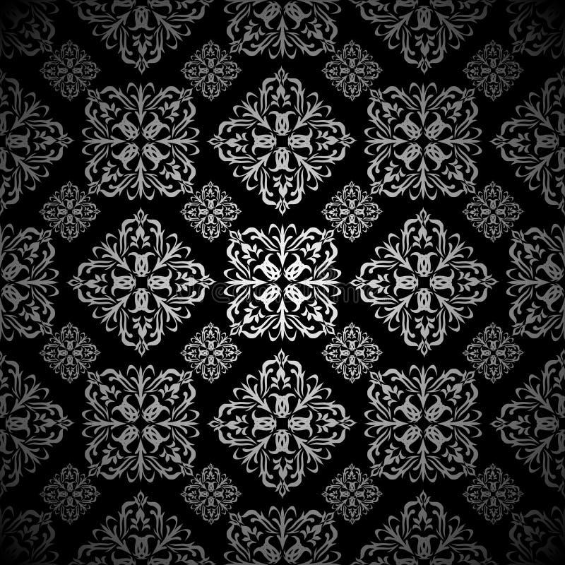 Download Floral Wallpaper Silver Tile Stock Vector - Image: 14852226