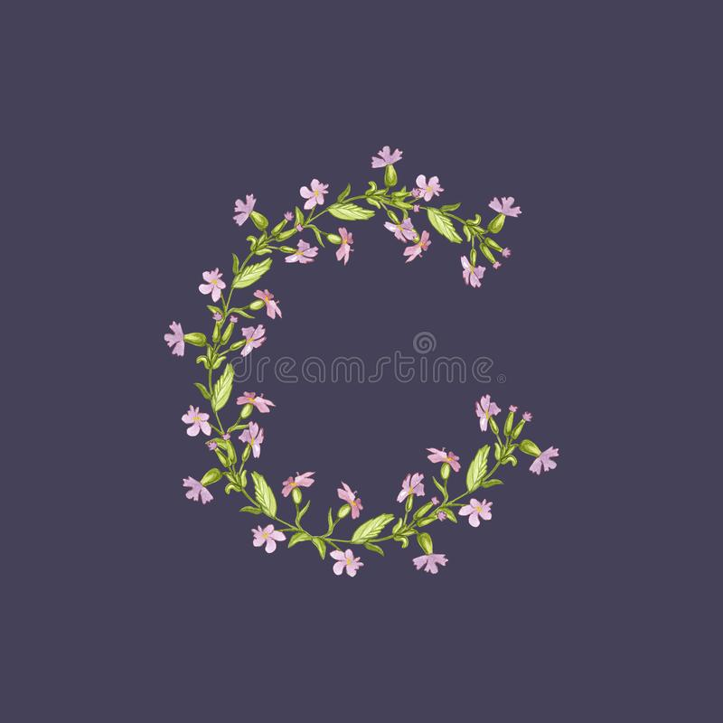 Floral Watercolor Alphabet illustration. Letter C made of flowers on dark violet background. stock illustration