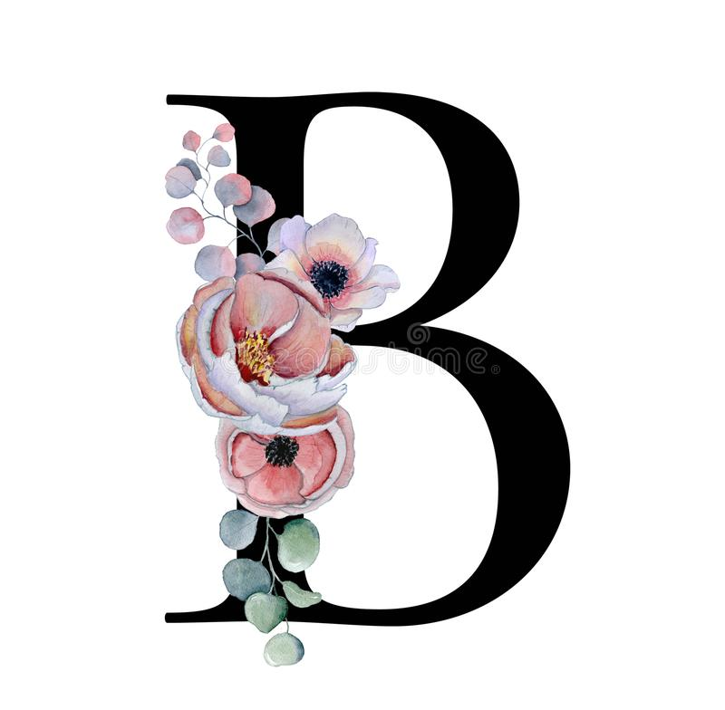 Download Floral Watercolor Alphabet Monogram Initial Letter B Design With Hand Drawn Peony And Anemone