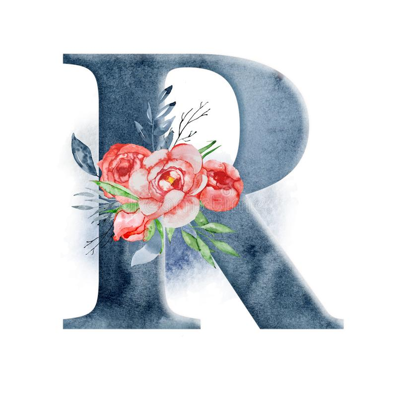 Download Floral Watercolor Alphabet Monogram Initial Letter R Design With Hand Drawn Peony Flower Stock