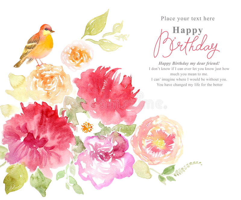Floral watercolor background with pink flowers and birds stock illustration