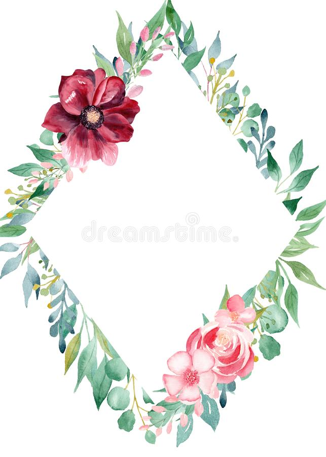 Floral watercolor hand drawn raster border template royalty free illustration