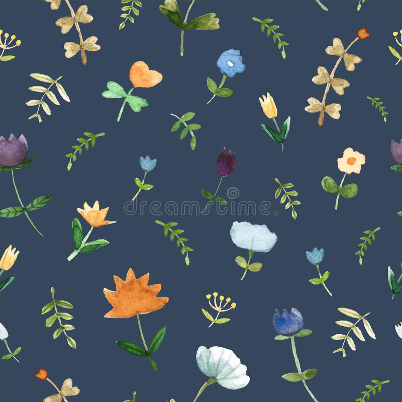 Floral watercolor pattern - illustration. stock photo