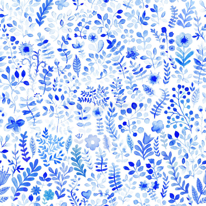 Floral watercolor pattern, texture with flowers. Floral pattern. royalty free illustration