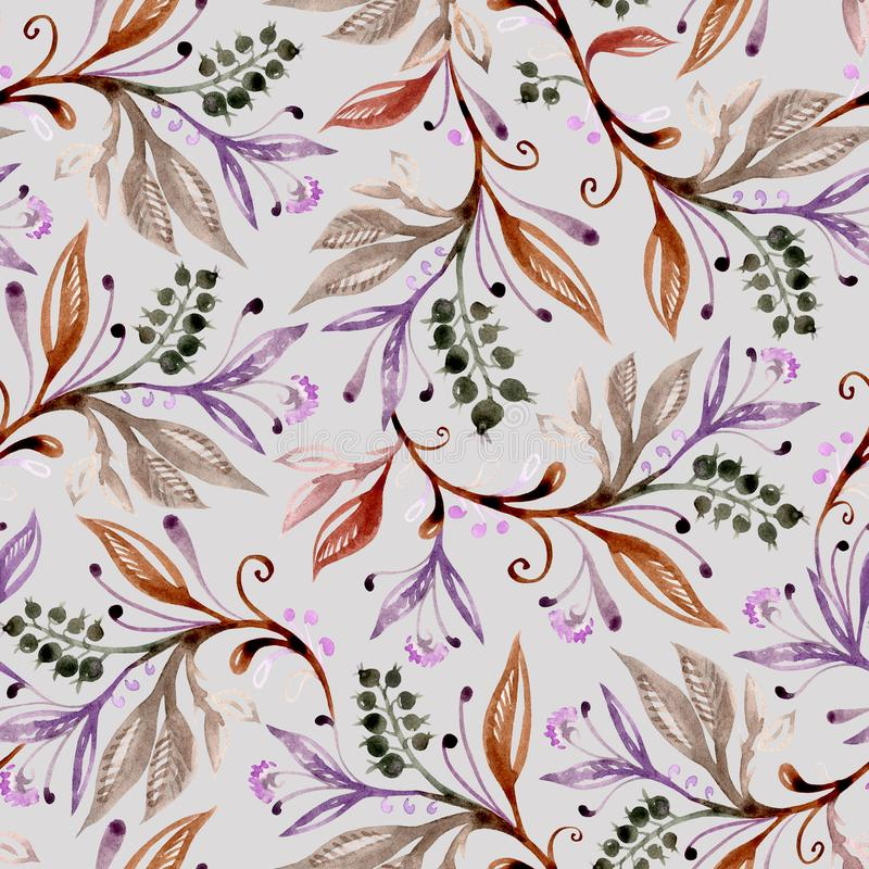 Floral watercolor seamless pattern in brown, green and purple colors on light gray background royalty free illustration