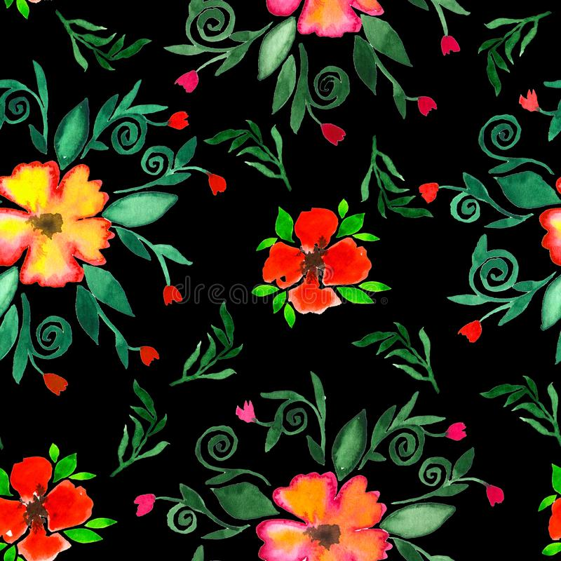 Floral watercolor seamless pattern. Decorative background. Floral watercolor seamless pattern. Colorful decorative background with bright hand painted flowers stock illustration