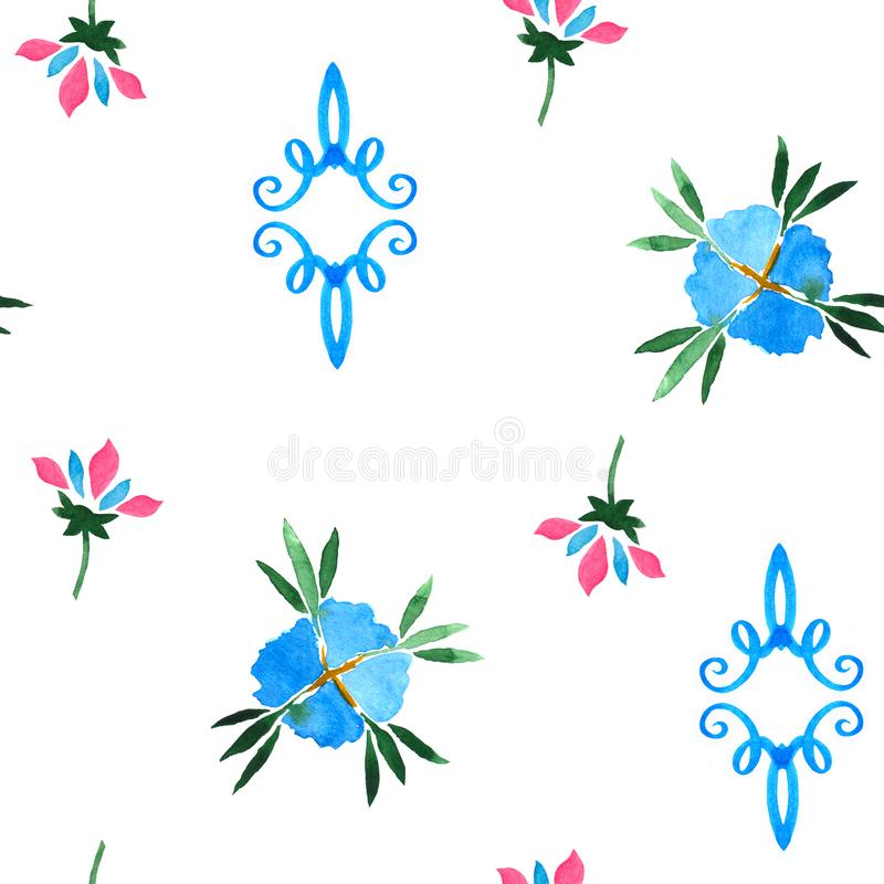 Floral watercolor seamless pattern. Decorative background stock illustration