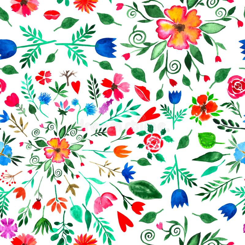 Floral watercolor seamless pattern. Decorative background. Floral watercolor seamless pattern with bright hand painted summer flowers. Colorful decorative stock illustration