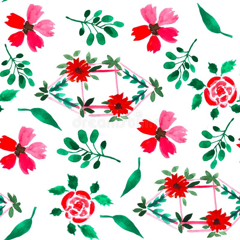 Floral watercolor seamless pattern. Decorative background. Floral watercolor seamless pattern with hand painted leaves and flowers. Colorful decorative stock illustration