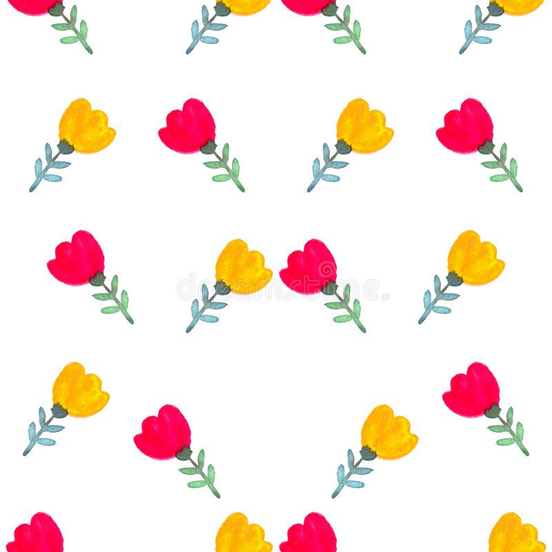 Floral watercolor seamless pattern. Decorative background. Floral watercolor seamless pattern with hand painted red flowers. Colorful decorative background for royalty free illustration