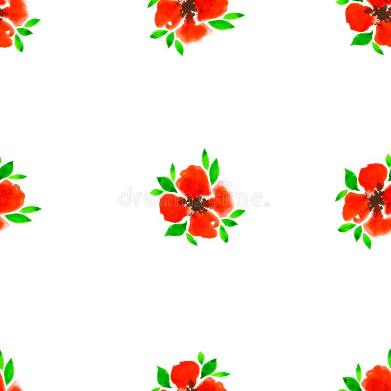 Floral watercolor seamless pattern. Decorative background. Floral watercolor seamless pattern with hand painted red flowers. Colorful decorative background for vector illustration
