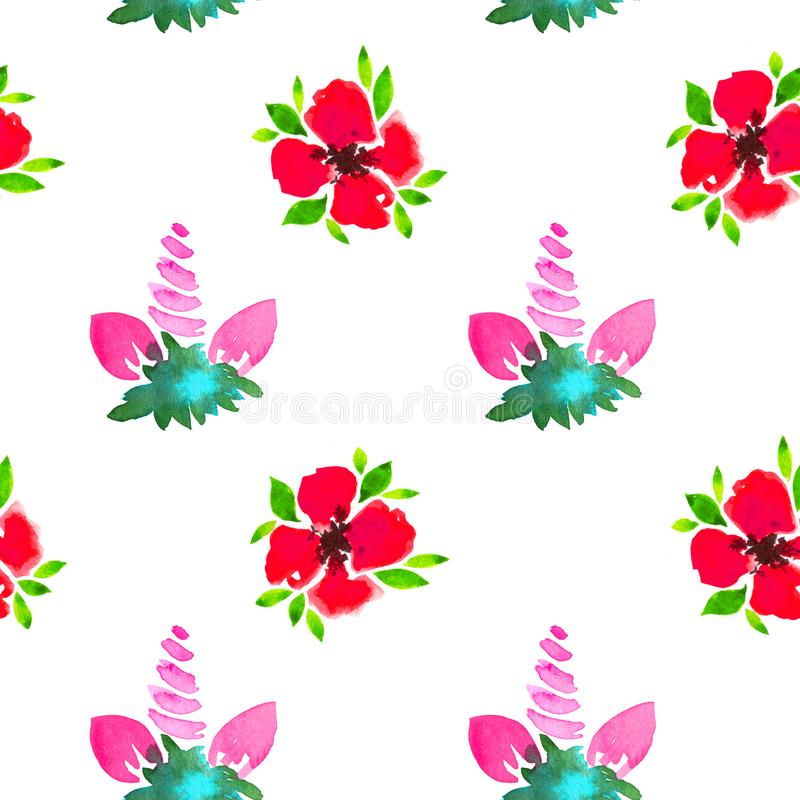 Floral watercolor seamless pattern. Decorative background. Floral watercolor seamless pattern with hand painted red flowers and unicorn. Colorful decorative royalty free illustration