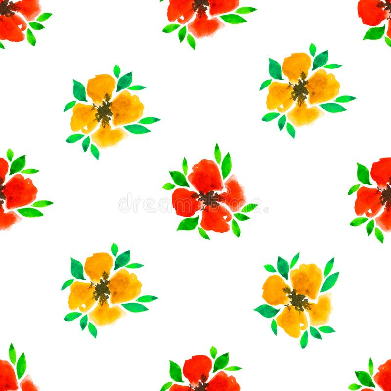 Floral watercolor seamless pattern. Decorative background. Floral watercolor seamless pattern with hand painted red and yellow flowers. Colorful decorative royalty free illustration