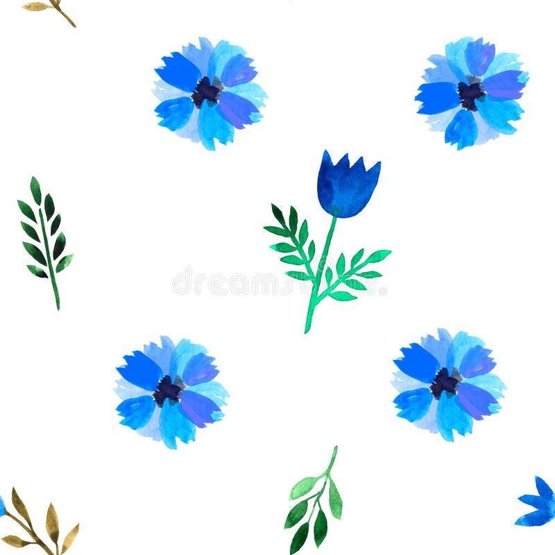 Floral watercolor seamless pattern. Decorative background. Floral watercolor seamless pattern with hand painted blue flowers. Colorful decorative background vector illustration