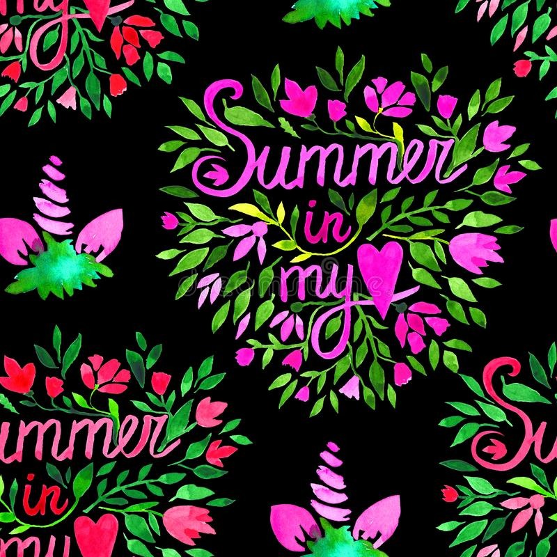Floral watercolor seamless pattern. Decorative background. Floral watercolor seamless pattern with hand painted red flowers and quote Summer in my heart stock illustration