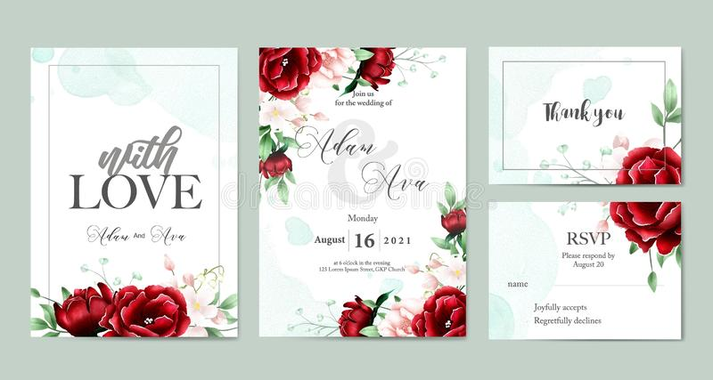 Floral watercolor wedding invitation template set. This is perfect for invitation wedding party, backgrounds, wallpapers and others royalty free illustration