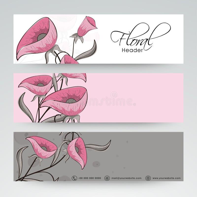 Floral website header or banner design. stock illustration