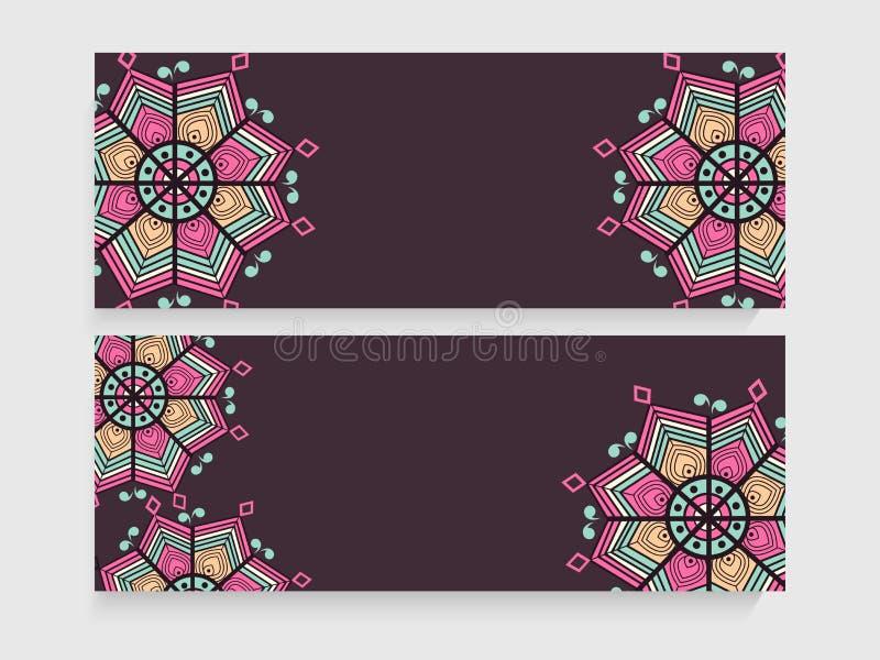 Floral website header or banner set. royalty free illustration