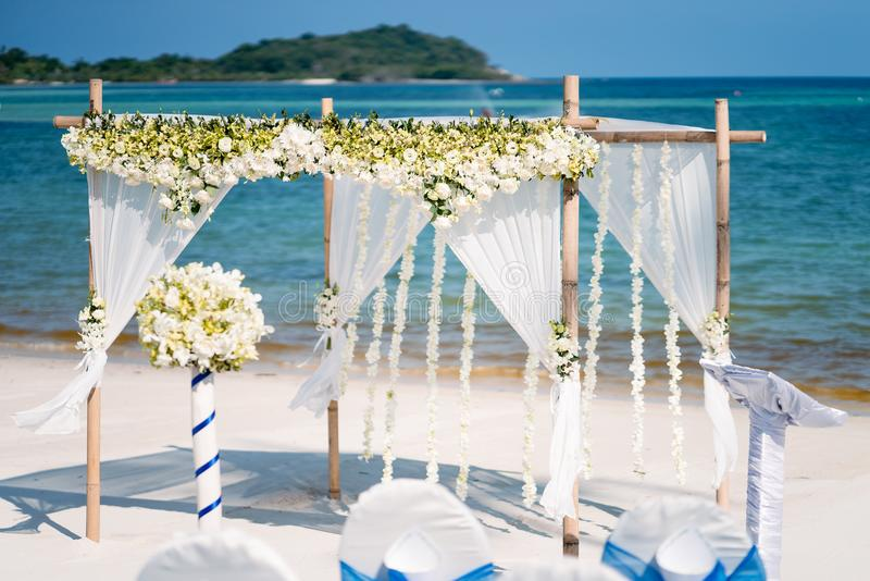 Floral wedding arch decoration beach wedding venue stock photo download floral wedding arch decoration beach wedding venue stock photo image of marriage junglespirit Image collections