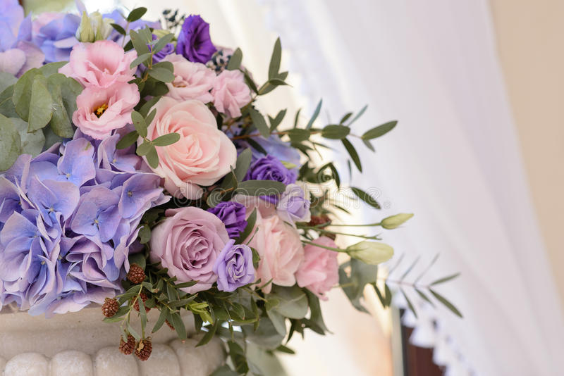 Floral wedding decoration with the violet blue pink flowers and download floral wedding decoration with the violet blue pink flowers and greenery stock photo junglespirit Images