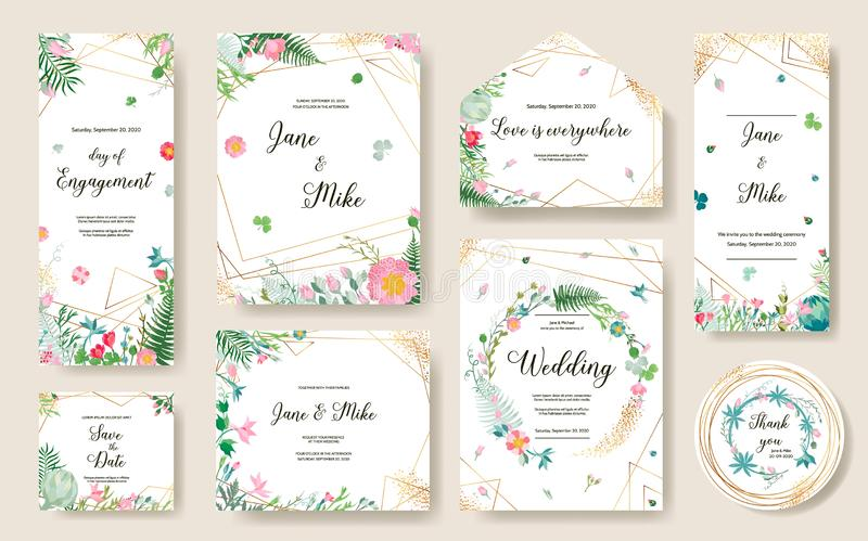 Floral Wedding Invitation card, save the date stock photo