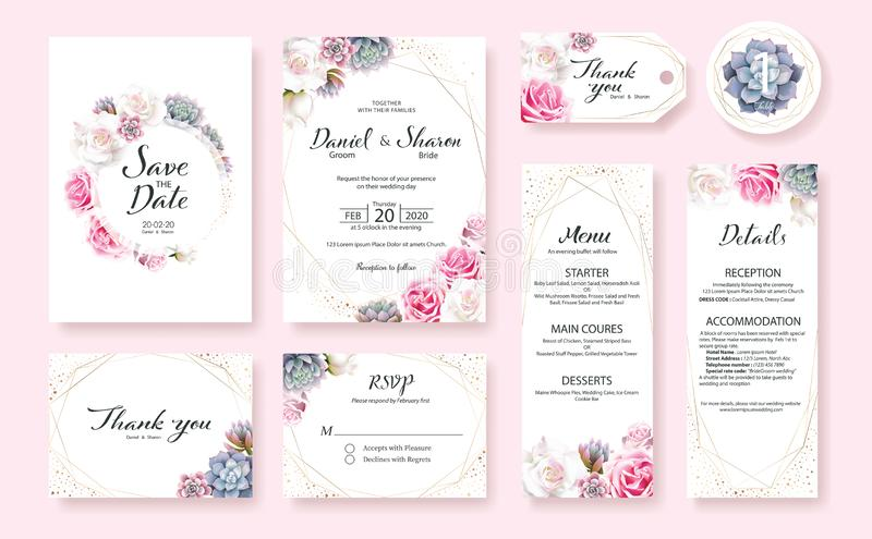 Floral Wedding Invitation card, save the date, thank you, rsvp, table label, menu, details, tage template. Vector. Pink and White royalty free illustration