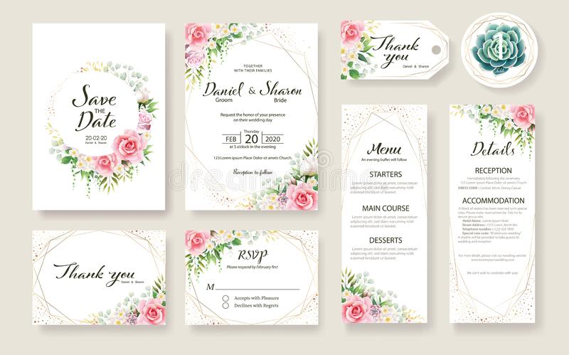 Floral Wedding Invitation card, save the date, thank you, rsvp, table label, tage template. Vector. Rose flower, Succulent,. Greenery plants vector illustration