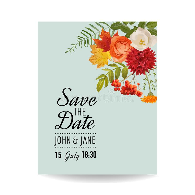Floral Wedding Invitation Card Template with Autumn Flowers, Leaves and Rowanberry. Baby Shower Decoration royalty free illustration