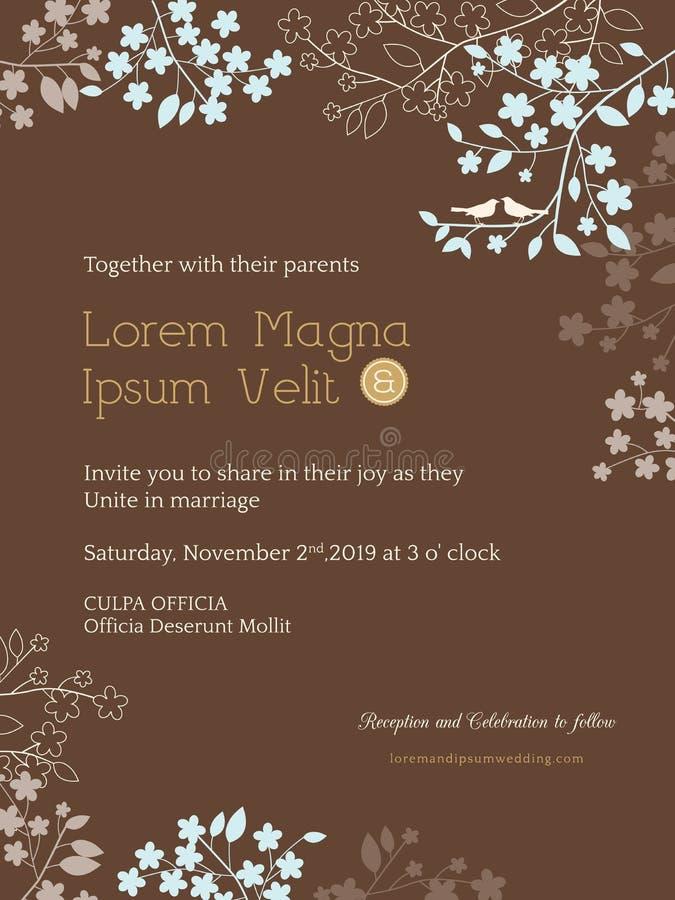 Floral wedding invitation card template vector illustration