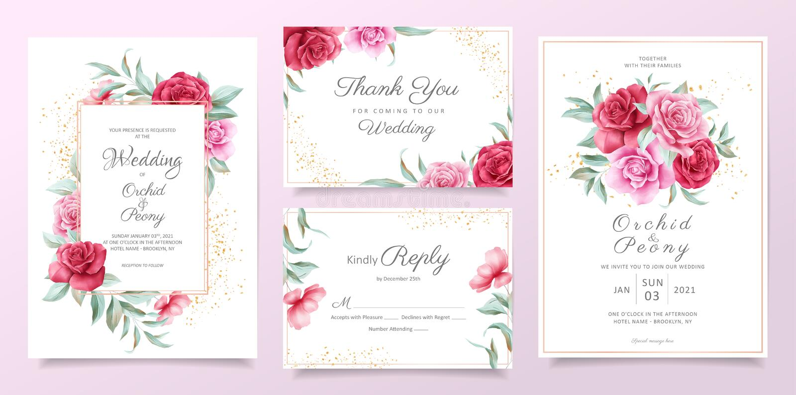 Floral wedding invitation card template set with red and purple roses, leaves, and golden decorative. Botanical card background royalty free illustration