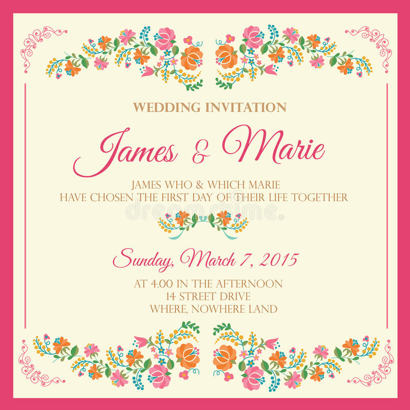 Floral Wedding Invitation stock photo. Image of banner - 63810426