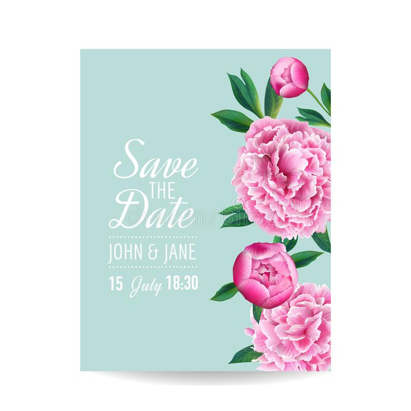 Floral Wedding Invitation. Save the Date Card with Blooming Pink Peony Flowers. Romantic Botanical Design for Party vector illustration