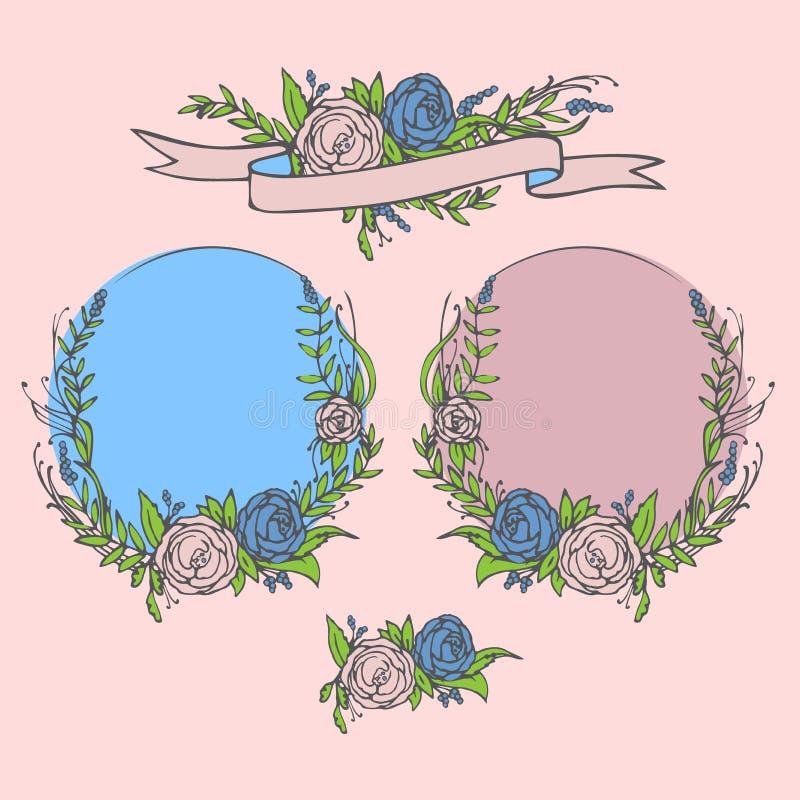 Floral wedding invitation, save the date. Flower vintage card with laurel. Bride and groom getting married. Floral wedding invitation, save the date. Flower royalty free illustration