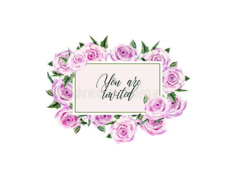 Floral wedding Invitation, save the date, thank you, rsvp card Design template. Pink bunch roses with leaves. Hand stock illustration