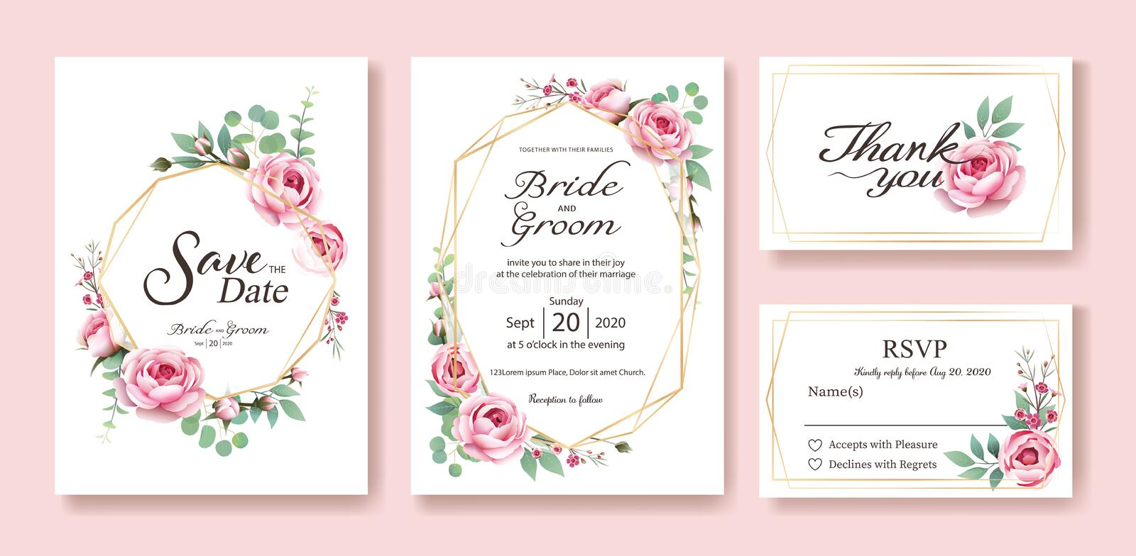 Floral wedding Invitation, save the date, thank you, rsvp card Design template. Vector. Queen of Sweden rose, silver dollar, leave. S, Wax flower. vector vector illustration