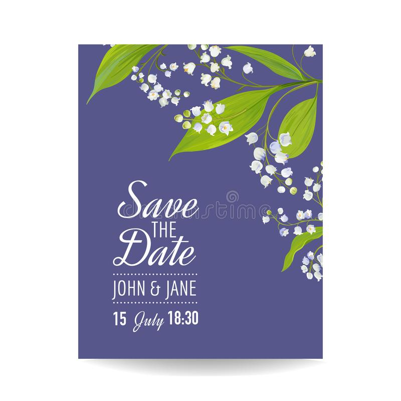 Floral wedding invitation template with spring lily of the valley download floral wedding invitation template with spring lily of the valley flowers save the date stopboris Images